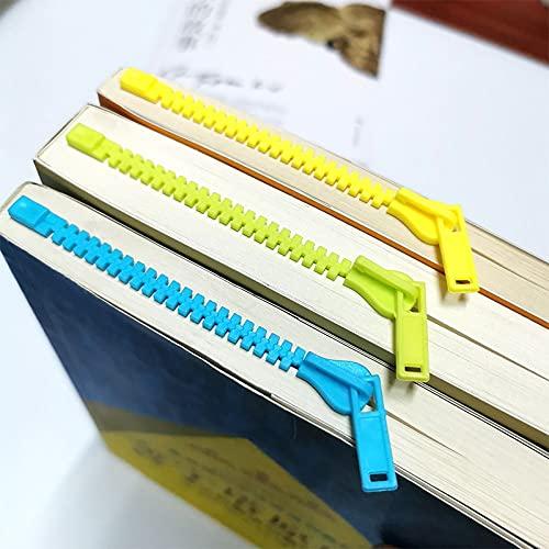 xinying Marcadores creativos con cremallera, marcador de libros, notas de lectura, bloc de notas, para estudiantes, libros de lectura y paginación, carpeta Kawaii papelería (color azul)