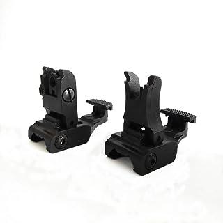HWZ Tactical Folding Front & Rear Set Flip Up Backup Sights BUIS Black