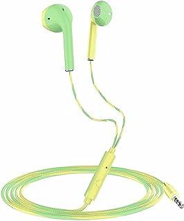 Trådbundna hörlurar med mikrofon, 1,2 m sport i örat hörlurar, flätad tråd, headset för iOS och Android mobiltelefon, för ...