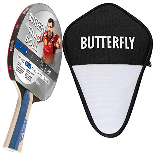 Butterfly Timo Boll Silver - Juego de raquetas de ping pong y funda