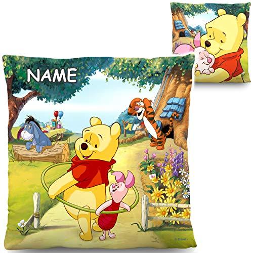 alles-meine.de GmbH Kissen / Schmusekissen / Sitzkissen - Disney - Winnie Pooh - inkl. Name - 40 cm * 40 cm - groß - Kuschelkissen - Mikrofaser - beidseitig VERSCHIEDEN Bedruckt ..