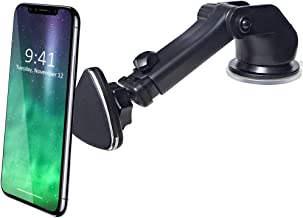 CRage Magnetic Phone Car Mount Holder Stand for Dashboard Windshield, Strong Magnet Extendable Long Arm Sticky Gel Suction Cup, Fits Apple iPhone X 8 7 6s Plus Samsung Galaxy S8 S7 S6 etc, Black