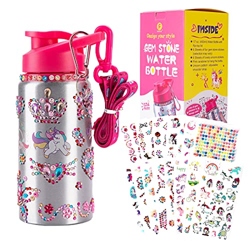 Girls Gifts Toys Decorate Your Own Water Bottle with 14 Sheets of Unicorn Stickers & Tons of Rhinestone Glitter Gem Stickers -17oz, Come with Adjustable Shoulder Strap,BPA Free,Fun DIY Arts and Crafts