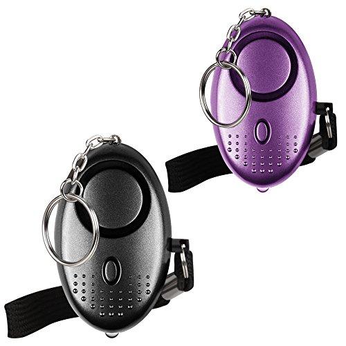 Alarma Personal de Emergencia [Paquete de 2] Qoosea Scream Safesound Alarma 140dB Linterna LED para niños/Mujeres/Ancianos/protección de la autodefensa del Estudiante asegurado (Negro + Púrpura)