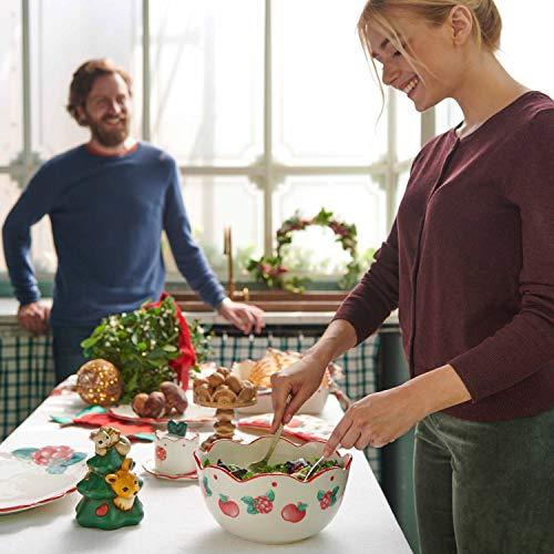 THUN ® - Set insalatiera - Ceramica - con 2 mestoli in Legno - Linea Frutti Rossi - Ceramica - mestoli in Legno di faggio - 24x24x12 h cm - 2,8 lt - h mestoli 30 cm