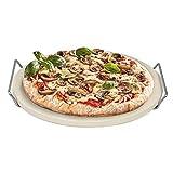 Piedra para Pizza / Pan Ø33 cm con Estructura de Acero Inoxidable - Para Pizza, Pan Fresco, Bollos, Quiche y Tartas - Apta Para Hornos, Parrillas de Carbón y Gas