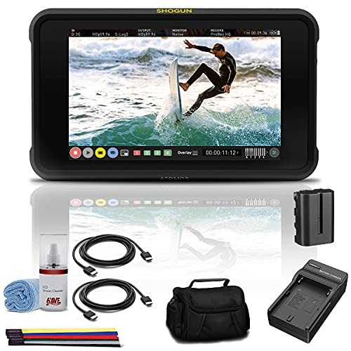 Atomos Shogun 7 HDR Pro/Cinema Monitor-Recorder-Switcher (ATOMSHG701) + NP-F550 Battery Pack + Case + External Charger + 2 x HDMI Cable + LCD Cleaning Kit + Velcro Straps