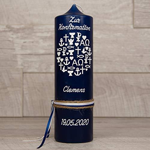 meinkerzenshop Konfirmationskerze - Clemens Junge oder Mädchen mit Name und Datum, individuell, persönlich u. handgemacht 17494