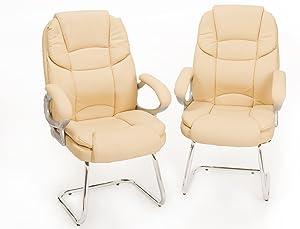 Coppia Poltrone per ospite, sedie da ufficio e sale riunioni - Colore Beige modello Silky