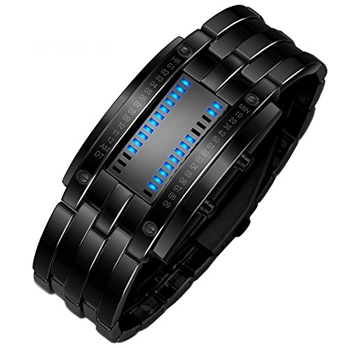 TONSHEN Herren und Damen Binäre Uhr Einzigartiges Design Schwarz Edelstahl Digitaluhr Rechteck Bezel LED Sportuhr Blau LED Licht Kalender Mode Cool Armbanduhr (Herren)