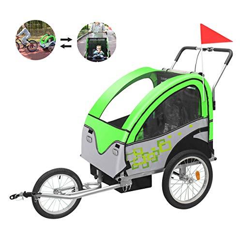 OLMME 2 in 1 Multifunktionsfahrrad Kinderanhänger Stoßdämpfendes Universalrad 2 Sitze Fahrradanhänger 0-5 Jahre Alter Kinder Buggy Jogger (grün/Rot)(Color:Grün)