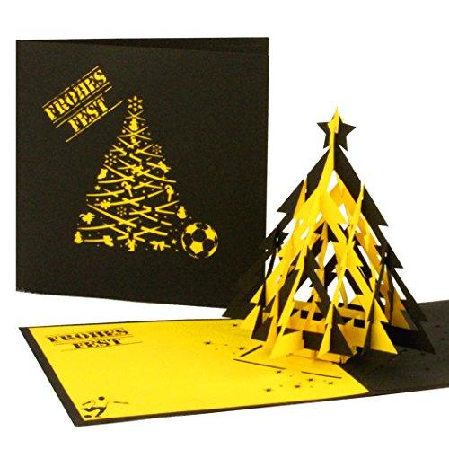 '3d pop up–Tarjeta de fútbol de Navidad en negro & amarillo tarjeta de Navidad con árbol para adictos al fútbol en Dortmund, Aquisgrán...