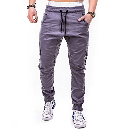 Mode Herren Sport Pure Color Bandage BeiläUfige Lose Sweatpants Drawstring Pant Mens Army Hosen Multi Pocket Kampf Cargo Knopf Jogginghose Kordelzug MäNner Tight Beam Fuß Slacks(Grau,XL)