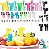 Gxhong 46 Pièces Fourchette à Fruits Enfants, Animaux Fourchette à Gâteau Décorative Bento pour Fruits Légumes Desserts Snacks Cure-Dents, Vaisselle de Fête