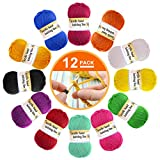 Paquete de 12 ovillos de lana acrílica – Lana de ganchillo multicolor para tejer, paquetes de hilo de lana de crochet, paquetes de hilo de lana de color en 12 colores brillantes (cada uno de 13 g)