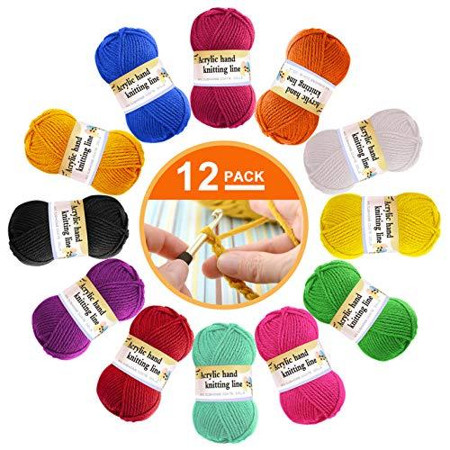 12 paquetes de lana acrílica – lana de ganchillo multicolor para tejer, paquetes de hilados de lana de ganchillo, paquetes de hilo de lana de color en 12 colores brillantes (cada 13 g)