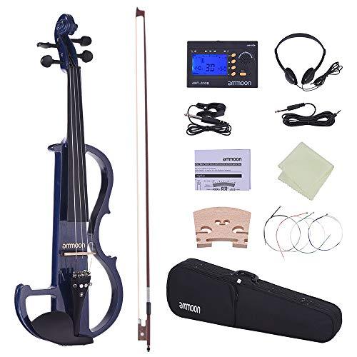 ammoon Violino Formato Completo 4/4 Legno Massiccio Silenzioso Elettrico Fiddle Style-2 Pegs di Barrette (Blu)