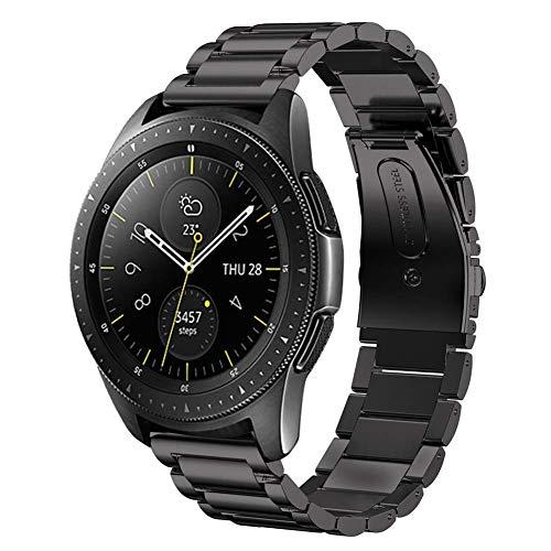 SUNDAREE Kompatibel mit Galaxy Watch 42MM Armband,20MM Metallarmband Armband Edelstahl Uhrenarmband Ersatz für Samsung Galaxy Watch 42MM SM-R810/Galaxy Watch 3 41MM/Galaxy Active(42 Schwarz)