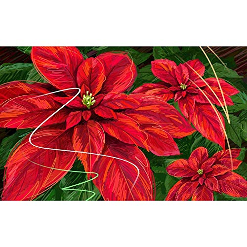 ZHONGYU 5D Diamond Painting Rhinestone Embroidery Kits Hand Drawn Poinsettia Round Full Drill Embroidery Cross Stitch for Home Wall Decor Valentine's Day Present(40 × 50CM)
