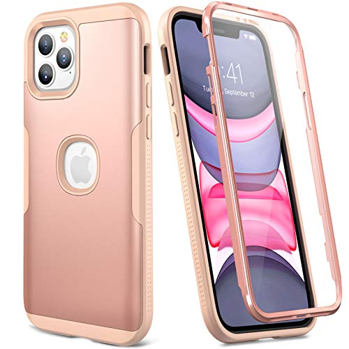 YOUMAKER Designed for iPhone 12 Pro Max Case, Full Body Rugged with Built-in Screen Protector Heavy Duty Protection Slim Fit Shockproof Cover for iPhone 12 Pro Max Case 6.7 Inch - Rose/Pink