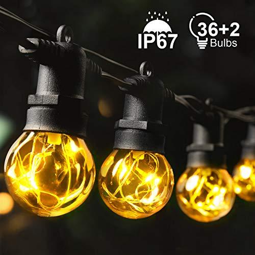 MYCARBON Guirlande Lumineuse Extérieur Guirlande Guinguette LED IP67 Etanche 36 Ampoules 13,5m 2 Ampoules de Rechange 2200K pour Noël Fête Mariage Soirée Décoration Intérieure Chambre Jardin
