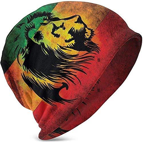 Unisex Beanie Mützen Rasta Lion Jamaica Reggae Style Druck Slouchy Sommer Knit Skull Hut Ski Hut Snapback Für Mädchen Jungen Schwarz