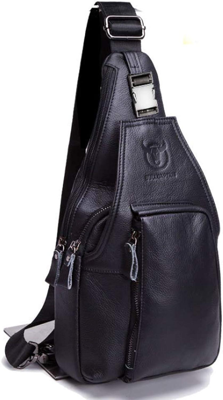Men's Leather Chest Bag Bag Bag Shoulder Crossbody Bag for Casual Fashion Multi-Function Sports Small Back Chest Bag (color   Black, Size   M) 9f9454