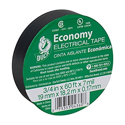 Duck Brand 299006 3/4-Inch by 60 Feet Utility Vinyl Electrical Tape with Single Roll, Black (3)