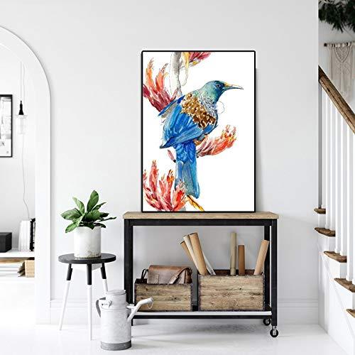 N / A Impresión de Acuarela pájaro Lienzo Pintura impresión de Arte póster Utilizado para Estilo Moderno Minimalista Sala de Estar decoración del hogar Pintura de Pared Sin Marco 30x45 cm
