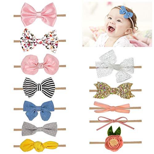 Comius Sharp 12 Stück Baby Stirnbänder Blüte Haarschmuck Headband Baby Haarband Kinder Haarband Mädchen Stirnband Kopfband für Kleinkind und Baby Mädchen
