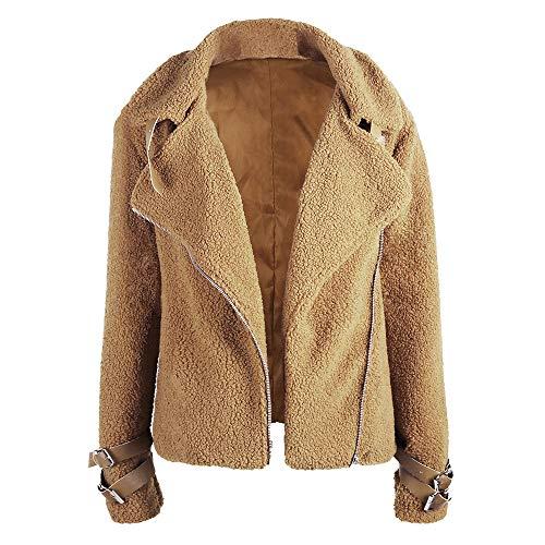 Yezijiang Jacke Revers Cardigan Outwear Langarm Einfarbig Winter Plüschjacke Wolle Frauen Faux Wollmantel Parka Damen Trenchcoat Mantel Lose AL453Rjq