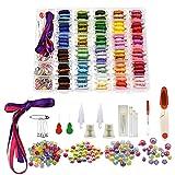 Hilos de punto de cruz de hilo bordado de 374 piezas, cadena de pulsera de amistad de 100 colores con caja de almacenamiento de organizador, bobinas de hilo, cuentas y cintas