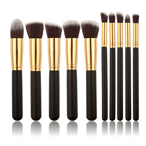 10pcs ensemble de pinceaux de maquillage Premium Fondation de cosmétiques Kabuki synthétiques mélange de blush eye-liner pour le visage poudre de maquillage brosse kit de maquillage (noir + or)