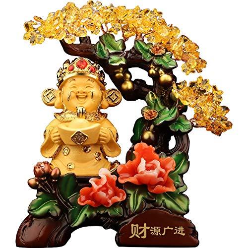 Árvore da Vida Feng Shui Decoração Árvore do Dinheiro Decoração Arte Cristal Estátua de Buda Rindo de Resina Estatuetas Feliz Buda Fengshui Gema Decoração Fortune Money Árvore Decoração Casa Estátua (Tamanho pequeno)/Produto