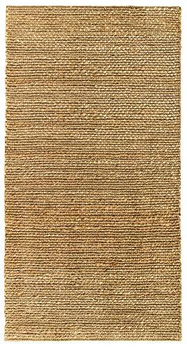 HAMID Juteteppich - Giralda Teppich 100% Natürliche Jutefaser - Weicher Teppich und Hohe Festigkeit - Handgewebt - Wohnzimmer, Esszimmer, Schlafzimmer, Flurteppich - Natürlich (110x60cm)