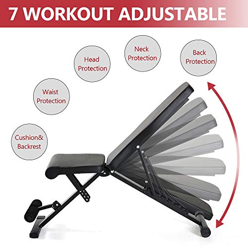 Weight Bench Adjustable ,90 to180 Degree Utility Workout Benchs Incline/Decline,Home Training Sit up Gym Bench black
