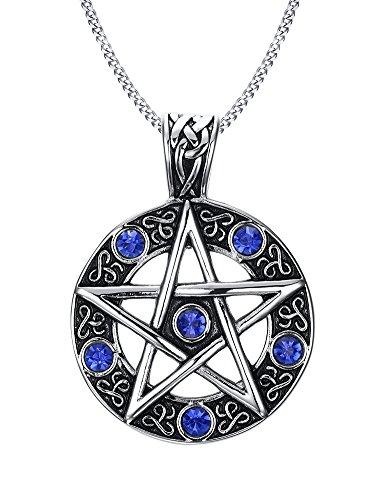 VNOX Edelstahl Blauer KristallPentagram der Familien Stern hängenden Halskette für Mann Frauen Wiccan Schmucksachen