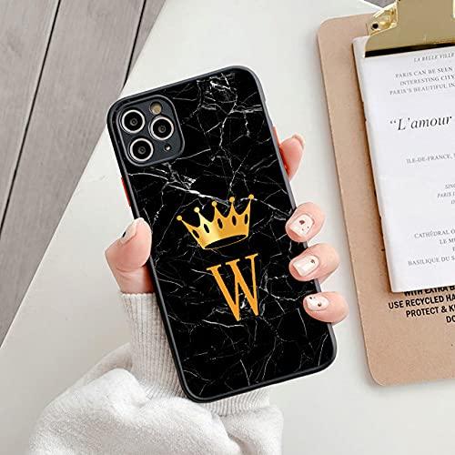 LIUYAWEI Funda de teléfono Simple Initials Marble Cover para iPhone 11 12 Pro MAX 7 8 Plus XS MAX X XR SE 2020 12 Mini, T23, para 7 Plus u 8 Plus