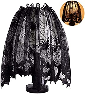 Halloween Spider Web Lamp Shades Cover Spider Web Lace Ribbon for Halloween Themed Party Decoration, Black