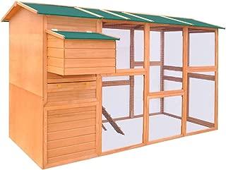 vidaXL Chicken Coop Hen Chook House Cage Rabbit Hutch Nest Box Wood Outdoor