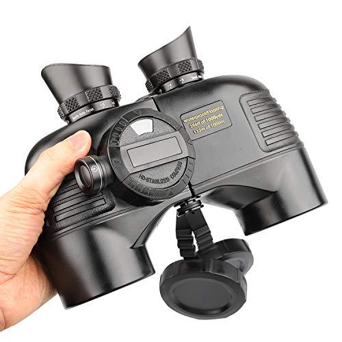 QUNSE BAK4 Militärisches Nautisches Fernglas 10x50, mit entfernungsmesser - Entfernungsmessen mit dem Kompass, großes Objektiv für weites Feld (Schwarz)