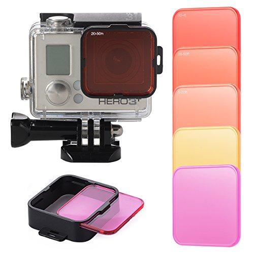 XCSOURCE Austauschbare Filterobjektive fürs Tauchen, Rot- und Gelb-Adapter für GoPro Hero 4,3+, LF722