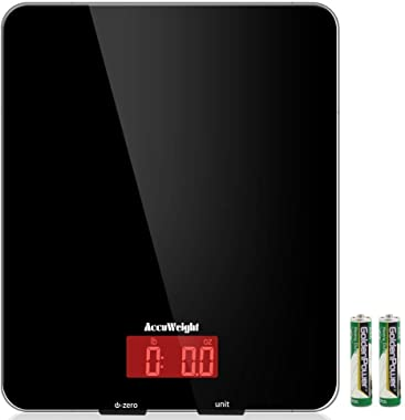 AccuWeight 201 Digital Multifunction Meat Food Scale with LCD Display for Baking Kitchen Cooking, 11lb Capacity by 0.1oz, Tem