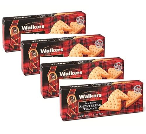 Walkers Biscotti a Forma di Triangolo Scozzesi di Pasta Frolla al Burro - 4 x 150 Grammi