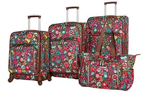 Lily Bloom Luggage Set 4 Piece Suitcase Collection With Spinner Wheels For Woman (Playful Garden)