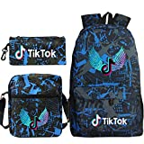 Travel TIK Tok Girls School Casual Daypacks Set Mochila Escolar para Estudiantes + Bolso pequeño + Bolso para bolígrafo Conjunto de Tres Piezas V-8