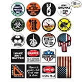 19-Pack Hard Hat, Tool Box Stickers | Proudly MADE IN USA! | 100% Vinyl | Funny decals for Construction, Electrician, Union, Oilfield, Military, Fire Crew, Mechanics | Display your American Flag!