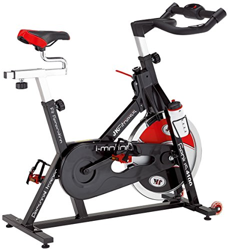 JK Fitness Genius Spin Bike Trasmissione a Catena, Nero/Rosso