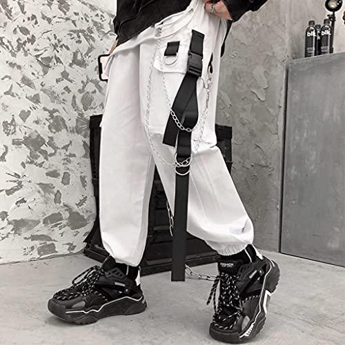 Kaibia Pantalones Harem de Carga para Mujer, Bolsillos Laterales, Negro, Blanco, Hip Hop, Casual, para Hombre, Mujer, Pantalones para Correr, Moda, Casual, Streetwear, Pantalones-XXL