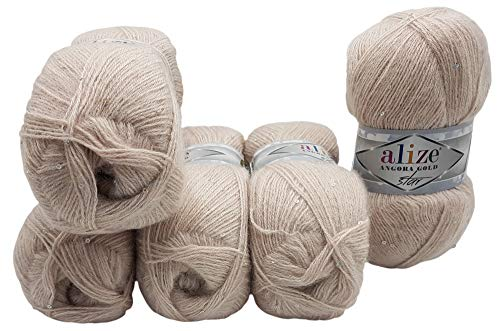 5 x 100g Alize Wolle mit Mohair und Pailletten zum Stricken und Häkeln, 500 Gramm Strickwolle (beige 506)